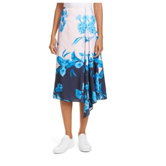 Ted Baker London Dresses & Skirts - TED BAKER Pink Blue Floral Asymmetrical Midi Skirt